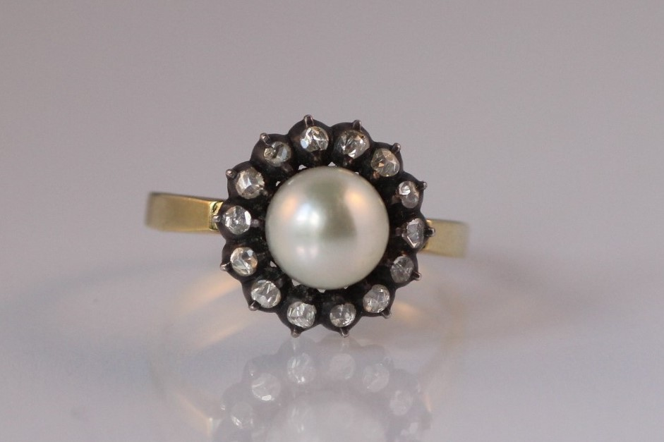 ring roosdiamant parel