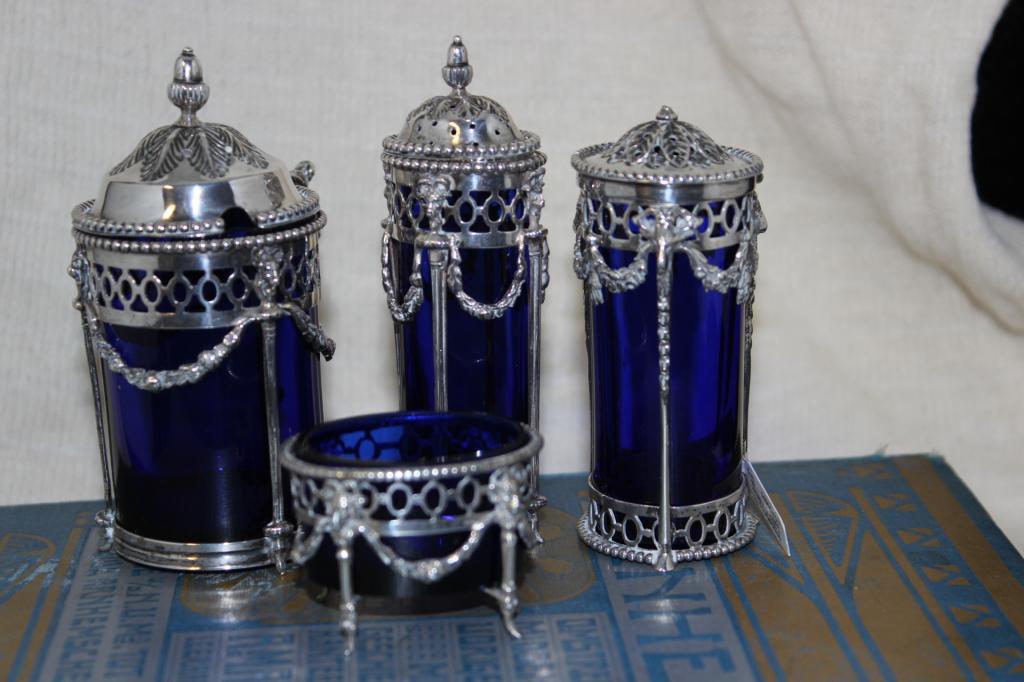 zilver blauwglas 4 delig a1